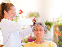 caregiver and an elderly woman